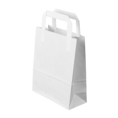 White Paper Bag With Flat Paper Handles 2211x28cm Paper Bags With